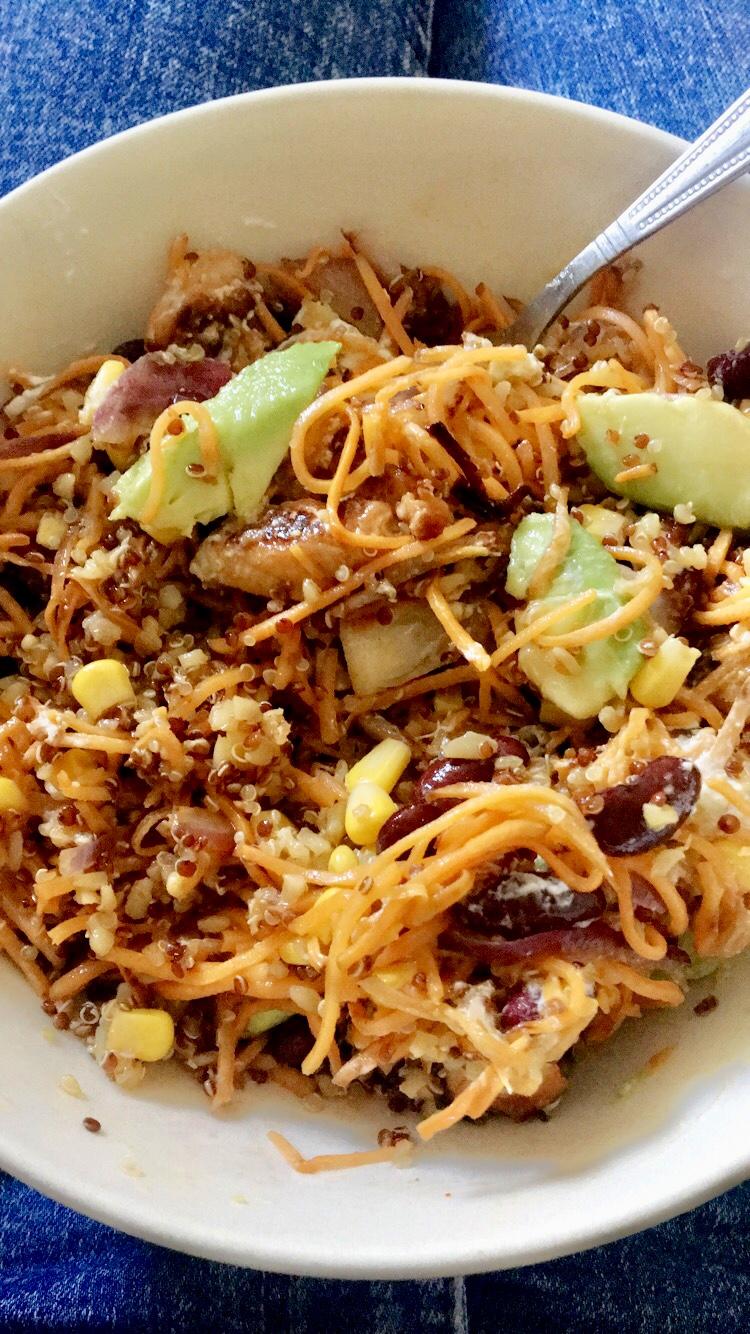 buddha bowl, bowl, buddhabowl, mexicaans, mexican, food, eten, foodie, zoete aardappel, recept, mais, bonen, quinoa, kidneybonen, kip, kipfilet, marinade, gemarineerd, xmariekie, blog, blogger